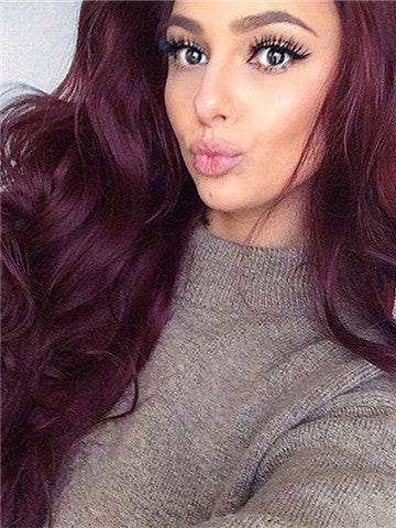 Long Gloxinia Reddish Purple Wave Synthetic Lace Front Wig - FashionLoveHunter