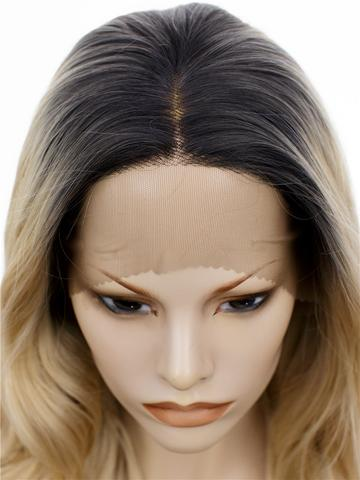 Long Gold Blonde Dark Root Ombre Wave Synthetic Lace Front Wig - FashionLoveHunter