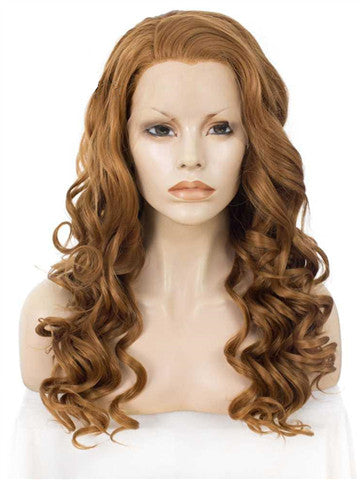 Long Golden Bronze Brown Wave Synthetic Lace Front Wig - FashionLoveHunter