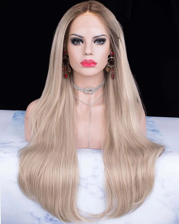 Long Gorgeous Caramel Blonde Ombre Synthetic Lace Front Wig