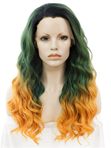 Long Green To Yellow & Orange Ombre Curly Synthetic Lace Front Wig - FashionLoveHunter