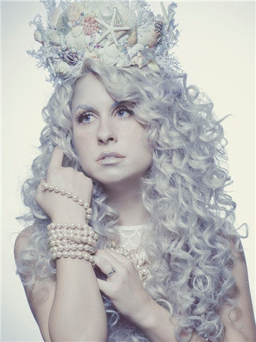 Long Grey Curly Hairstyle Synthetic Lace Front Wig - FashionLoveHunter