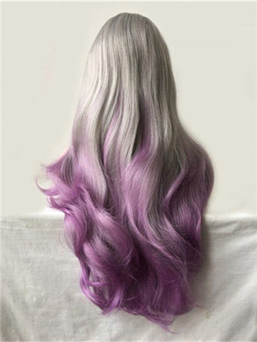 Long Grey To Purple Orchid Ombre Wave Synthetic Lace Front Wig - FashionLoveHunter