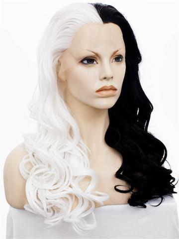 Long Half Black & Half White Wavy Synthetic Lace Front Wig - FashionLoveHunter