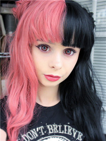 Long Half Pink & Half Black Wave Synthetic Lace Front Wig With Bang - FashionLoveHunter