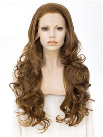 Long Honey Brown Loose Wave Synthetic Lace Front Wig - FashionLoveHunter