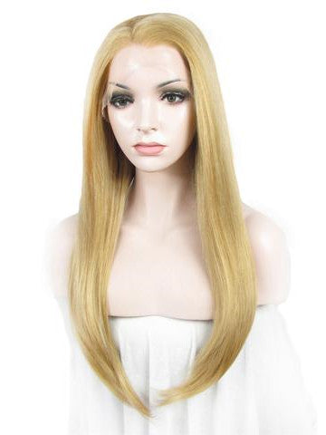 Long Honey Gold Straight Synthetic Lace Front Wig - FashionLoveHunter