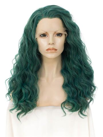 Long Joker Dark Green Wavy Synthetic Lace Front Wig - FashionLoveHunter