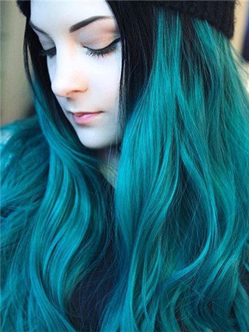 Long Lake Green Ombre Wave Synthetic Lace Front Wig - FashionLoveHunter