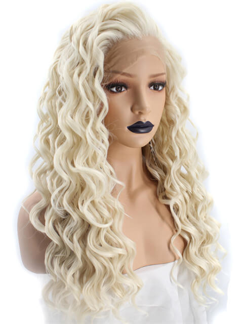 Long Layered Blonde Curly Synthetic Lace Front Wig