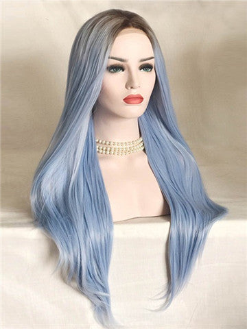 Long Light Cerulean Bright Blue Straight Synthetic Lace Front Wig - FashionLoveHunter
