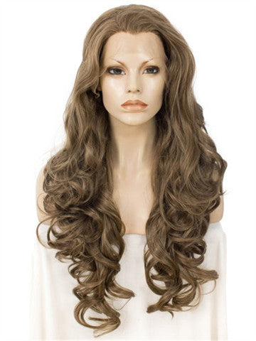 Long Light Chestnut Brown Loose Wave Layered Synthetic Lace Front Wig - FashionLoveHunter