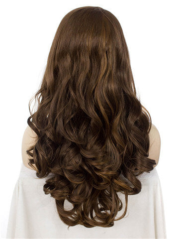 Long Light Chestnut Saddle Brown Mixed Wave Synthetic Lace Front Wig