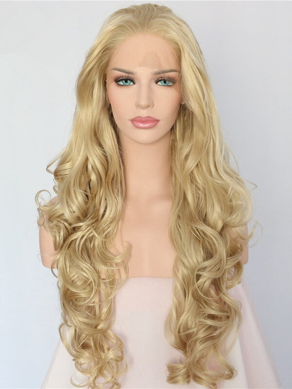 Long Light Golden Blond Wave Synthetic Lace Front Wig