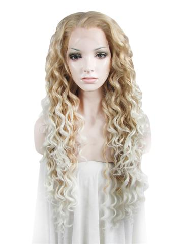 Long Light Golden To White Ombre Curly Synthetic Lace Front Wig - FashionLoveHunter