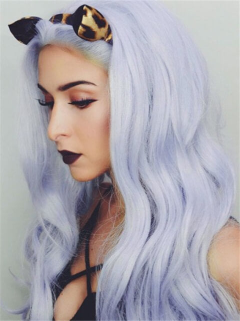 Long Light Lavender Cloud Wave Synthetic Lace Front Wig