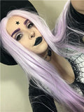 Long Light Lavender Gothic Style Straight Synthetic Lace Front Wig - FashionLoveHunter