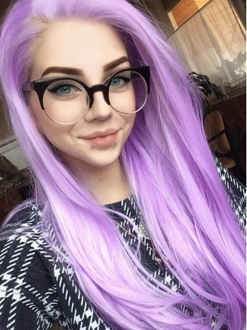 Long Pale Lavender Synthetic Lace Front Wig - FashionLoveHunter