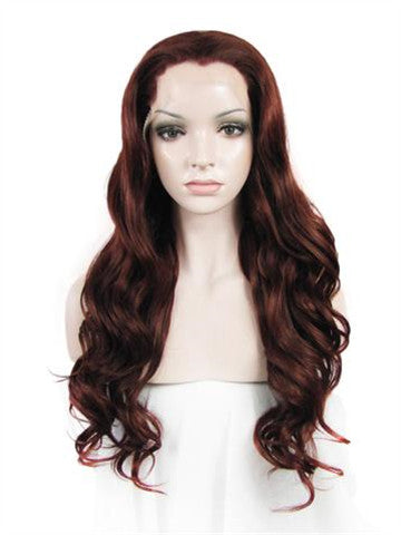 Long Dark Chestnut Brown Wavy Synthetic Lace Front Wig - FashionLoveHunter
