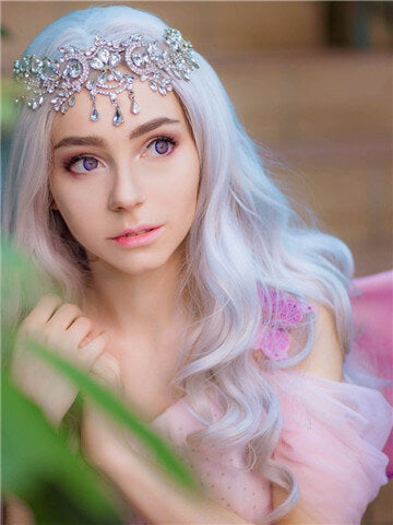 Long Light Silver Grey Costume Cosplay Wave Synthetic Lace Front Wig