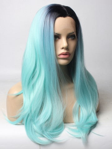 Long Light Sky Blue Ombre Straight Synthetic Lace Front Wig - FashionLoveHunter