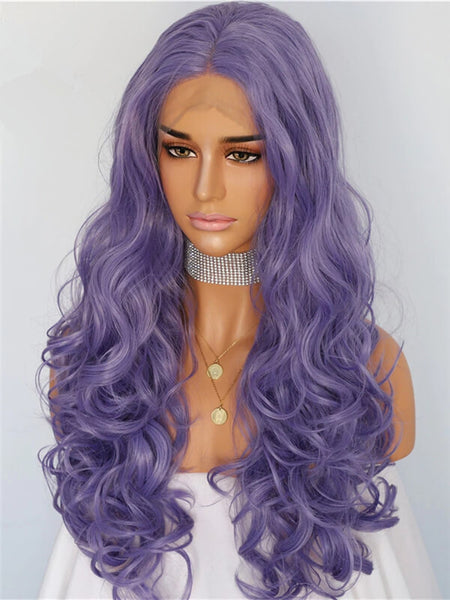 Long Medium Purple Wave Synthetic Lace Front Wig