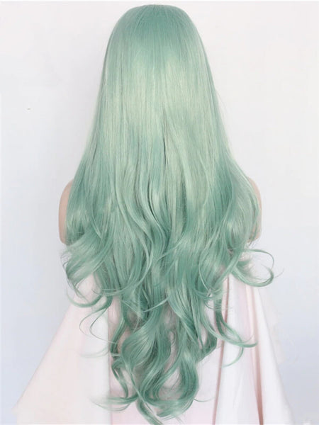 Long Medium Sea Green Wave Synthetic Lace Front Wig
