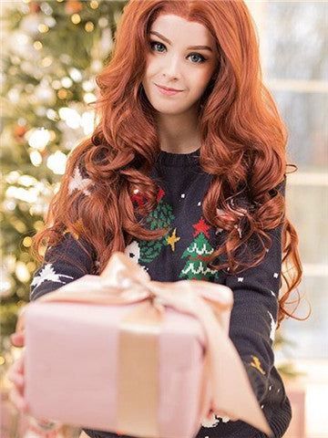Long Middle-Part Copper Reddish Brown Wave Synthetic Lace Front Wig - FashionLoveHunter