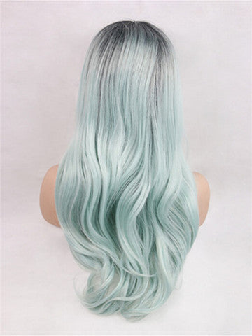 Long Mint Absinthe Green Ombre Synthetic Lace Front Wig - FashionLoveHunter