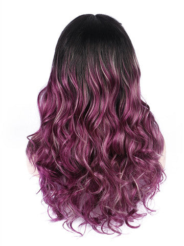 Long Mixed Reddish Purple Ombre Wave Synthetic Lace Front Wig - FashionLoveHunter