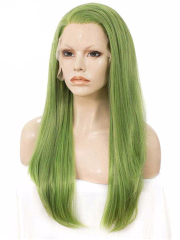 Long Mustard Seafoam Green Straight Synthetic Lace Front Wig - FashionLoveHunter