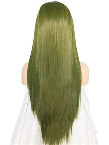Long Mustard Seafoam Green Straight Synthetic Lace Front Wig