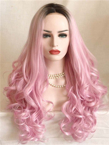 Long Myrtle Rose Diva Pink Wave Synthetic Lace Front Wig