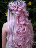 Long Myrtle Rose Diva Pink Wave Synthetic Lace Front Wig - FashionLoveHunter