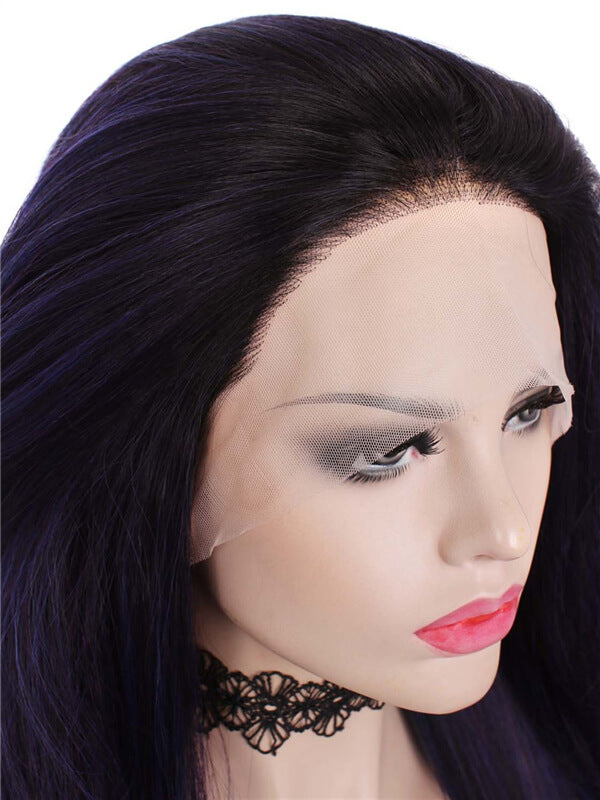 Long Mystery Dark Purple Ombre Straight Synthetic Lace Front Wig