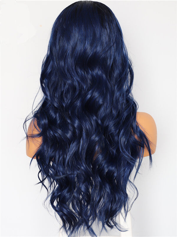 Long Ombre Midnight Blue Wave Synthetic Lace Front Wig