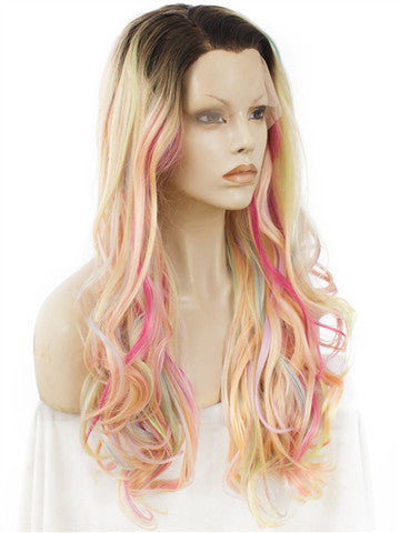 Long Pastel Multicolor Pink Blonde Mixed Wave Synthetic Lace Front Wig - FashionLoveHunter