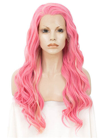 Long Peony Mixed Pink Wave Synthetic Lace Front Wig