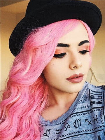 Long Peony Mixed Pink Wave Synthetic Lace Front Wig - FashionLoveHunter