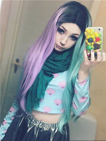 Long Pink Green Double Colors Straight Synthetic Lace Front Wig - FashionLoveHunter