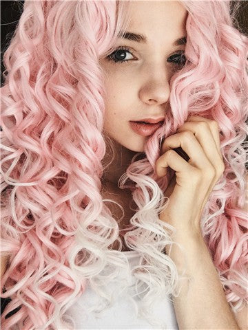 Long Pink To White Ombre Curly Synthetic Lace Front Wig - FashionLoveHunter