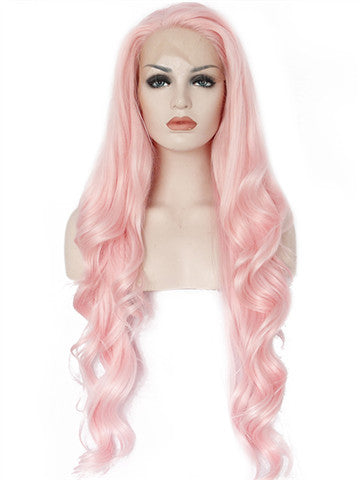 Long Pink Wave Cupcake Synthetic Lace Front Wig - FashionLoveHunter
