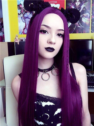 Long Popular Grape Purple Straight Synthetic Lace Front Wig - FashionLoveHunter