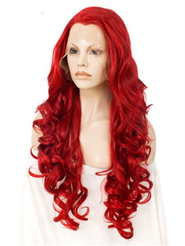 Long Pure Big Red Wavy Synthetic Lace Front Wig - FashionLoveHunter