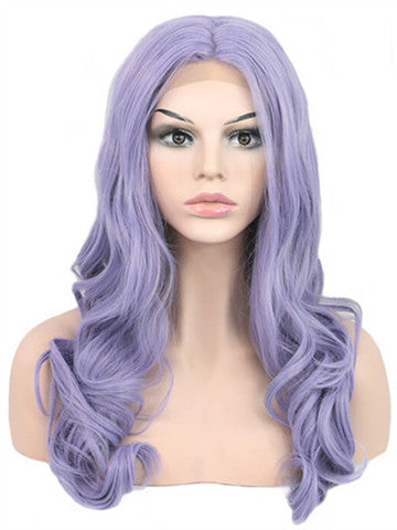 Long Pure Lavender Wave Synthetic lace front wig - FashionLoveHunter