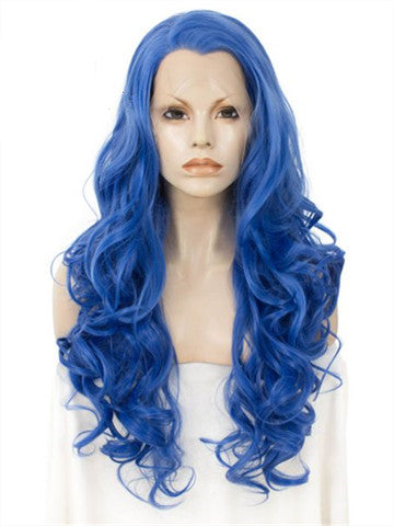 Long Pure Sea Blue Wave Synthetic Lace Front Wig - FashionLoveHunter