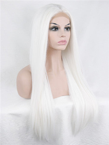 Long Pure White Cosplay Straight Synthetic Lace Front Wig - FashionLoveHunter