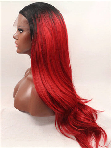 Long Red Phoenix Ombre Synthetic Lace Front Wig - FashionLoveHunter