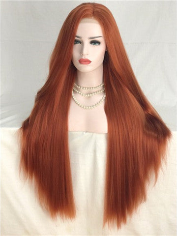 Long Reddish Brown Autumn Twilight Copper Straight Synthetic Lace Front Wig - FashionLoveHunter