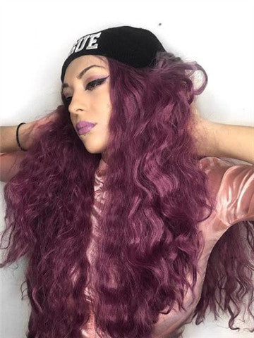 Long Reddish Purple Burgundy Curly Synthetic Lace Front Wig - FashionLoveHunter